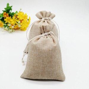 Image 4 - 100 unids/lote 7x9 15x20cm Vintage Natural arpillera Lino yute bolsa de regalo yute bolsa de embalaje de regalo bolsas de regalo con cordón para boda