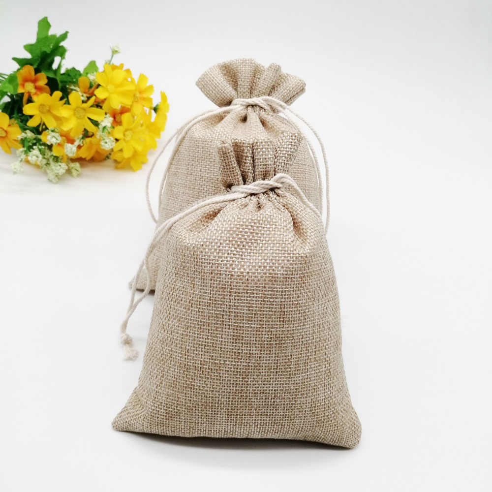 50pcs Burlap Jute Gift Bag Drawstring