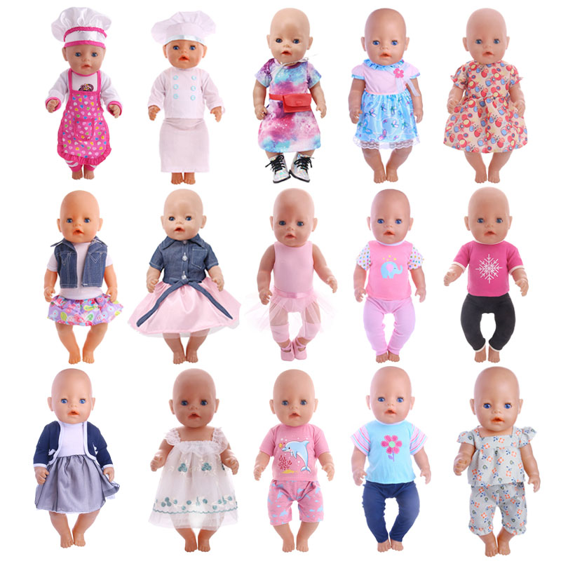 Doll Clothes 15 Styles Handmade Clothes Dresses Skirts For 18 Inch American Doll&43 Cm Born Doll Accessories For Generation Girl