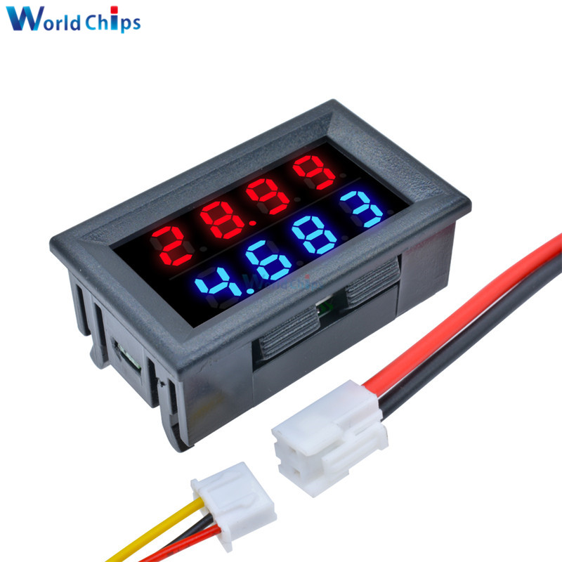 Red Blue Dual Digital LED AMP Display DC Voltmeter Ammeter 4 Bit 5 Wires DC 200V 10A Voltage Volt Current Meter Power Supply
