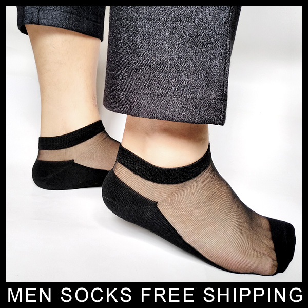 Men sheer Nylon silks Socks sexy for Leather shoes Sexy Thin Formal socks Ankle Transparent See through Male socks