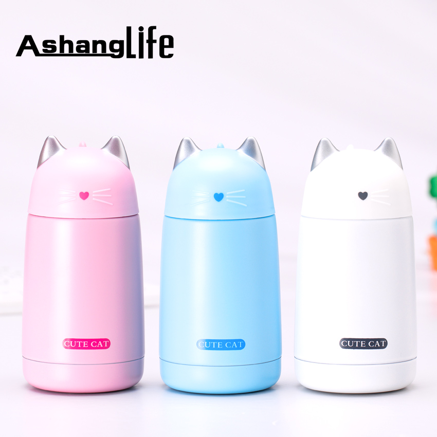 Stainless Steel Thermos Mug Vacuum Cup New Model Cartoon Cat Shape Heat Preservation Kids Water Bottle Leak-proof Insulation Cup