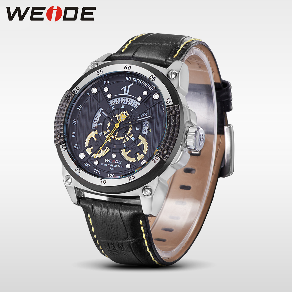 WEIDE leather quartz sports wrist watch casual genuine men water resistant shocker analog luxury electronics clock man watches weide new men quartz casual watch army military sports watch waterproof back light men watches alarm clock multiple time zone