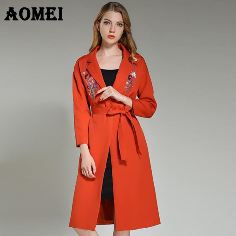 2019 Mode Mantel Der Frauen Kaschmir Feminino Herbst Winter Mit Schärpen Einfache Stickerei Maxi Lange Mäntel Weibliche Oberbekleidung Femme Kleidung