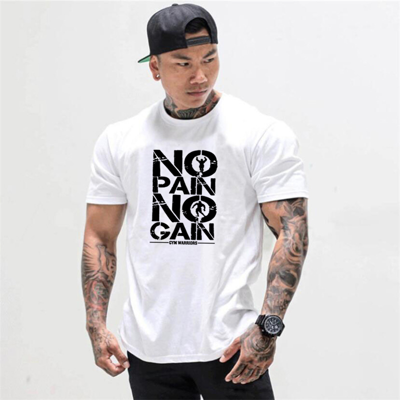Gyms Clothing Bodybuilding Fitness Men T Shirt Workout NO PAIN NO GAIN cotton Short Sleeve TShirt sportswear tee shirt homme