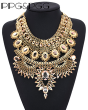 PPG&PGG Fashion Jewelry Chunky Chain Big Statement Crystal Bib Collar Necklaces vintage India Style Charm Jewellery Bijoux