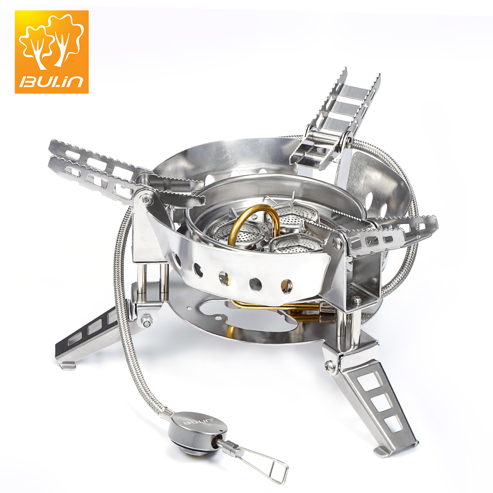BULin Outdoor Foldable Camping Stove Portable Picnic Gas Burners Stove 6800W Windproof Split Gas for Outdoor Cooking BBQ Camping bulin bl100 b15 mini portable outdoor gas stove foldable cooking camping split gas burner