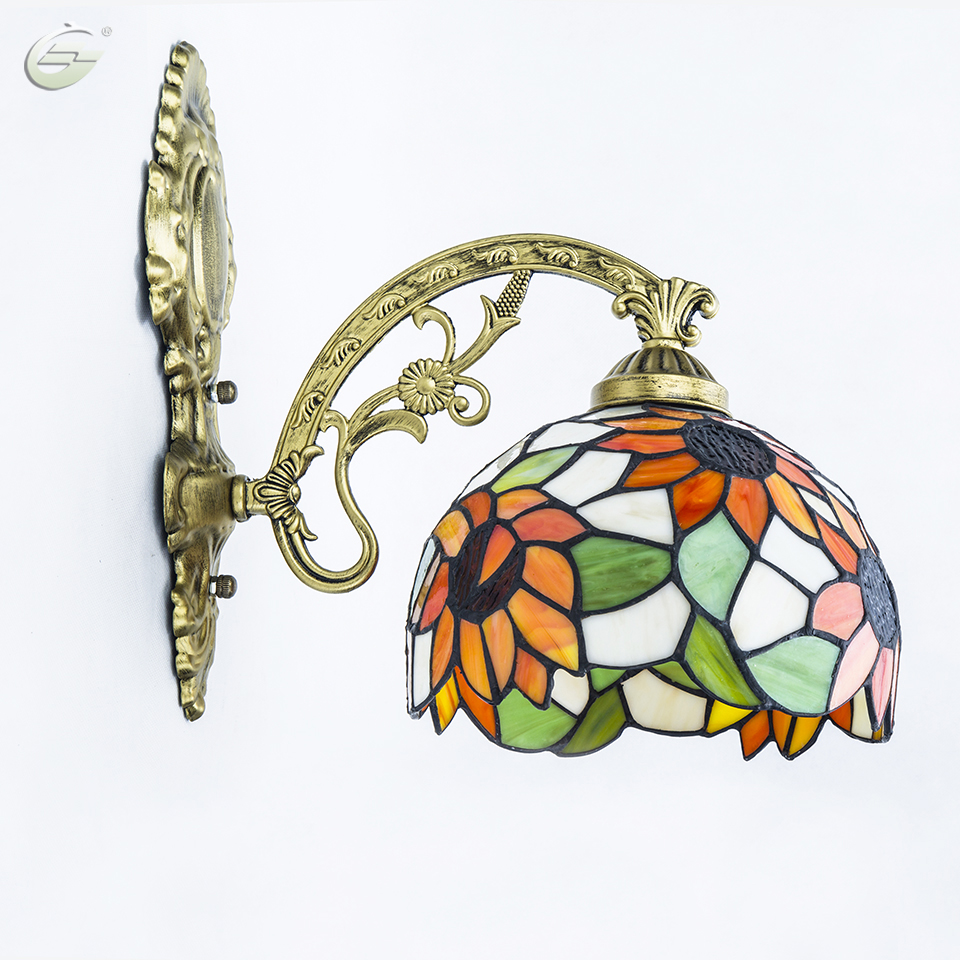 20cm Mirror Bathroom Bedroom Bedside Glass Wall Lamp Balcony Sunflower Porch Corridor Lighting Free Shipping