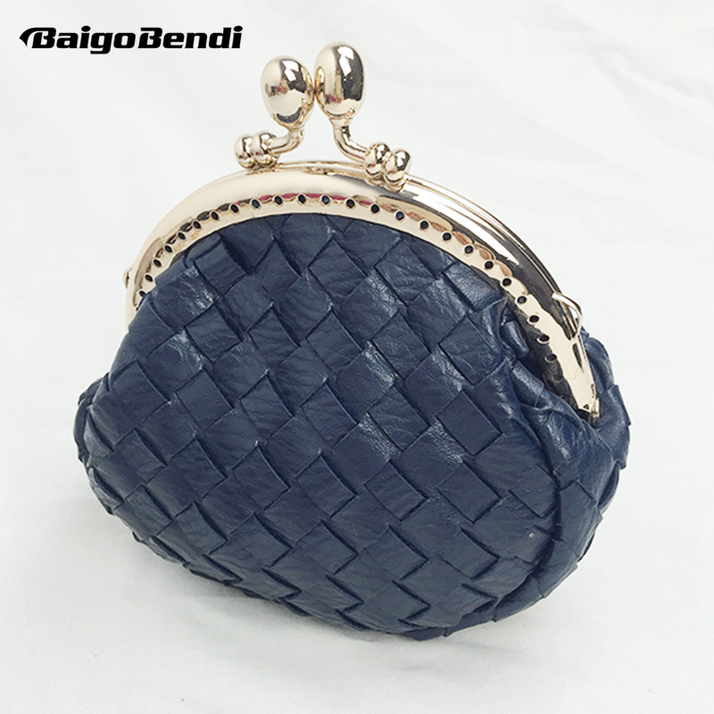 Retro Frame Ladies Metal Chain Clutch Womens Mini Woven Leather Coin Purses Knitting Wallet Small Messenger Bag