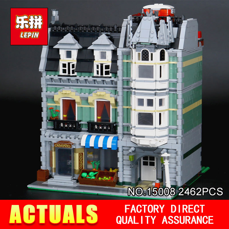 LEPIN 15008 2462 pcs Classique Modulaire Créateurs Vert Épicier Bâtiments Blocs Briques Jouets Modèle pour Chilren cadeaux de Vacances 10185
