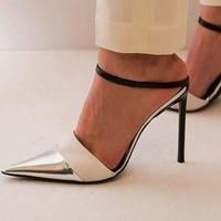 Brand Luxury Elegant Women Silver Thin High Heels Sandals 2019 Designer Ladies Cinderell Leather Shoes Valentine Pumps Scarpins