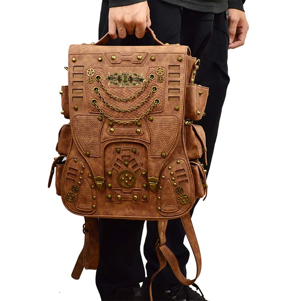 36772187b9 Aliexpress.com   Buy Retro Rivet Punk Men Backpack Gothic PU Leather  Fashion Travel Bag Steampunk Women Backpacks Brown Cool School Bags from  Reliable ...