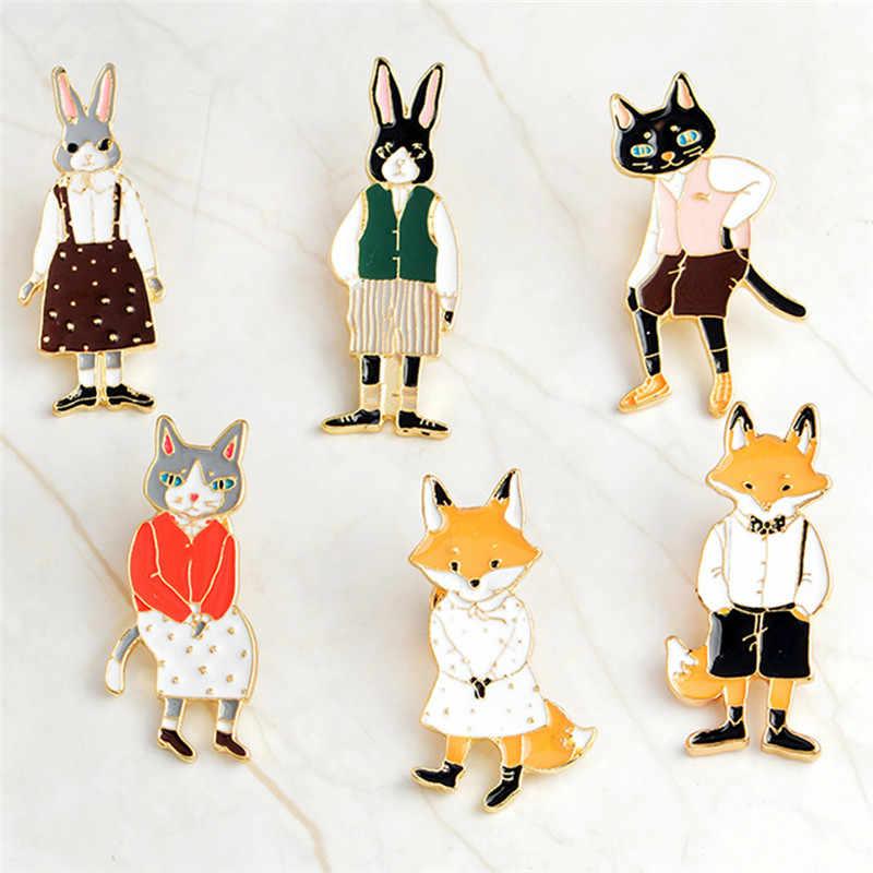 Новинка 2018 года! брошь лисичка в виде кота, котенка, кролика, кролика, эмалированная булавка, джинсовая булавка для воротника, значок, ювелирное изделие, подарок