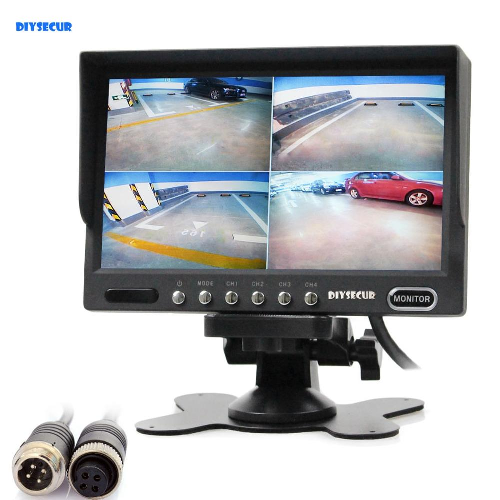 DIYSECUR 4PIN DC12V-24V 7Inch 4 Split Quad Screen Display Color Rear View Video Security Monitor for Car Truck Bus CCTV CameraDIYSECUR 4PIN DC12V-24V 7Inch 4 Split Quad Screen Display Color Rear View Video Security Monitor for Car Truck Bus CCTV Camera