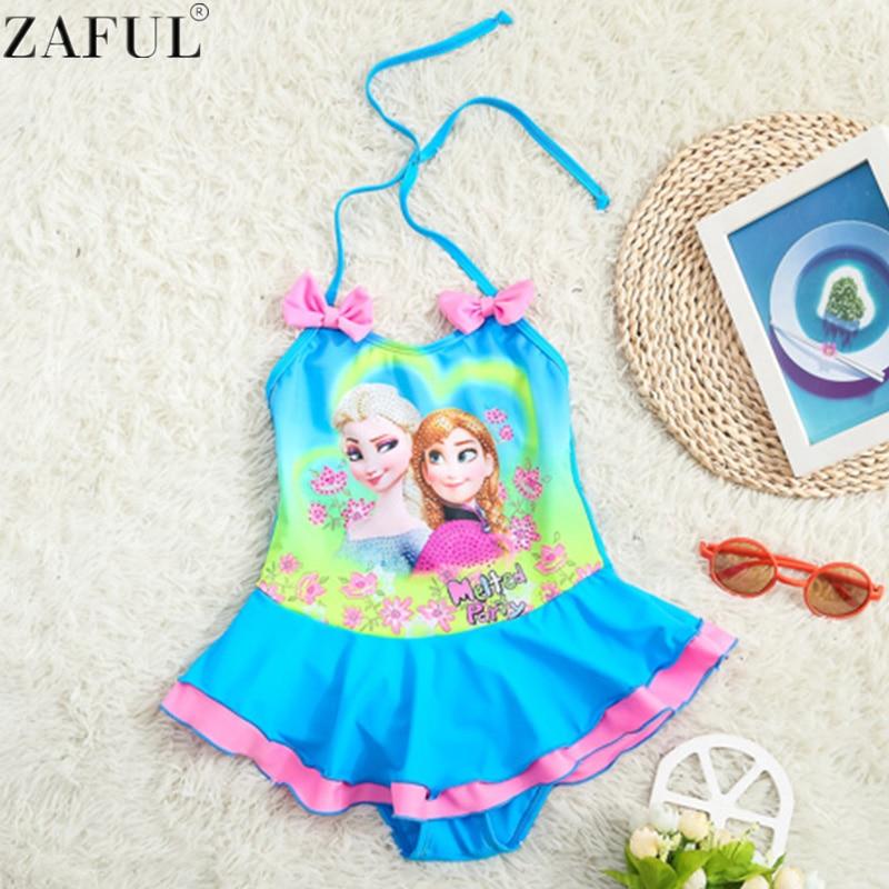 zaful hot elsa anna olaf ragazze costumi da bagno per bambini increspato swimwear bambini ragazza tankini