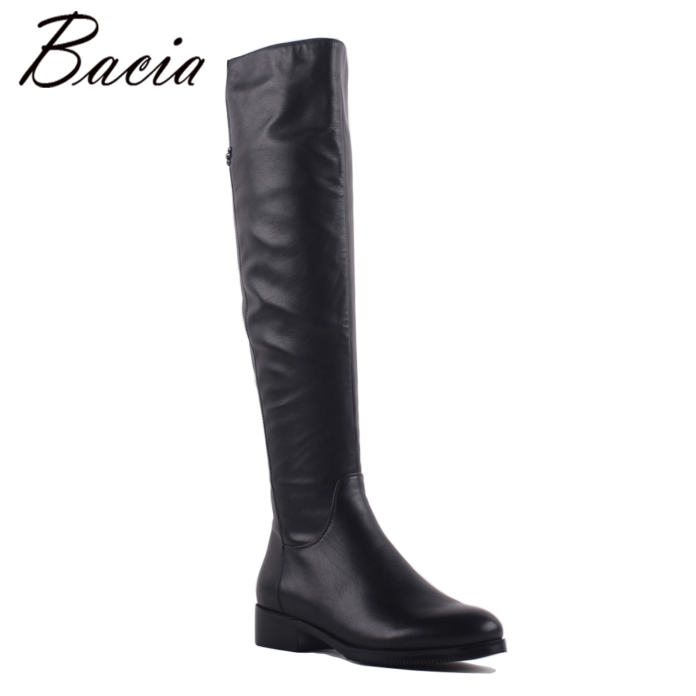 Bacia Fashion Genuine Full Grain Leather Med Heels Shoes Round Toe Heel 3.5cm Warm Winter Wool Fur & Short Plush Boots SA073 bacia winter boots for women full grain leather boots heels 5 8cm wool fur