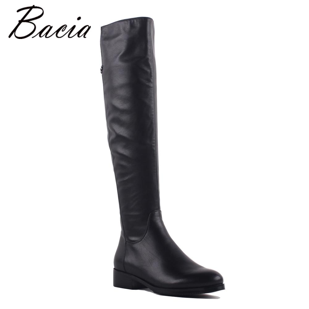 Bacia moda cuero genuino del Med tacones zapatos dedo del pie talón 3,5 cm cálido invierno lana y piel corta felpa SA073