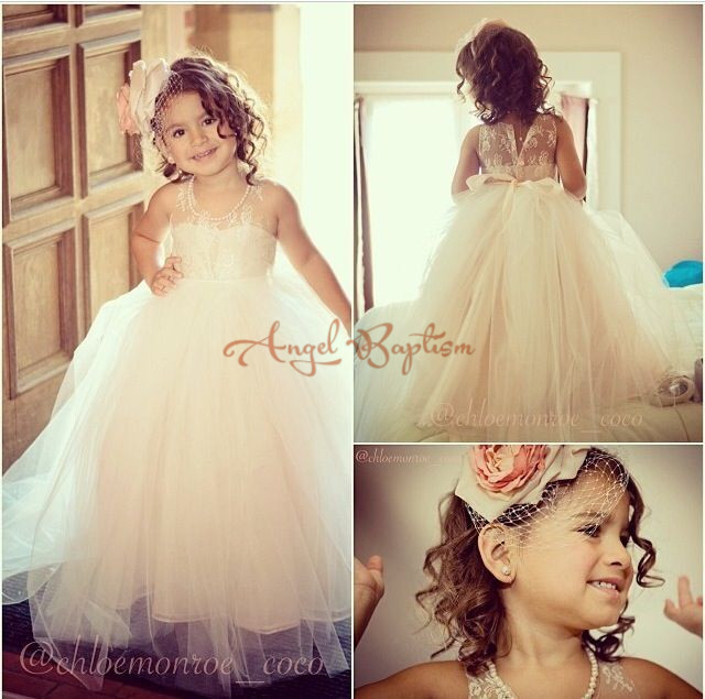 2017 White / Ivory Elegant  illusion Lace Ball Gowns Tutu Flower Girl Dresses First Communion dresses for Kids Evening
