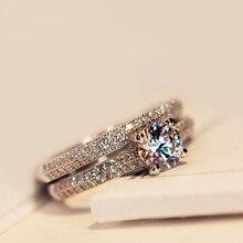 Виктория Вик Реального Пасьянс 5 мм Имитация Diamant 925 Стерлингового Серебра Женщины Обручальные Кольца Обручальное кольцо Размер 4-9