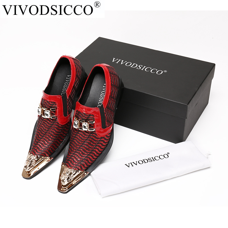 VIVODSICCO Italian Fashion Business Men Dress Shoes Genuine Leather Pointed Toe Wedding Formal Shoes Plus Size Office Shoes new 2018 fashion men dress shoes genuine leather pointed toe male wedding shoes autumn men office formal shoes yj a0029