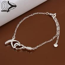 Lose Money!!Wholesale Silver-Plated Anklets,Fashion Silver Jewelry,Love Heart With Zircon Stone X Charm Anklet