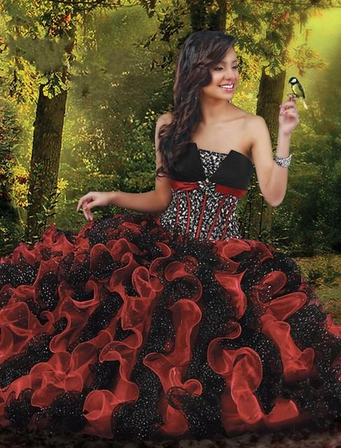 Vermelho e Preto vestido de Baile Sem Alças de Organza Contas de Cristal Quinceanera Vestidos Sem Mangas Off The Shoulder Ruffles Vestidos Formais