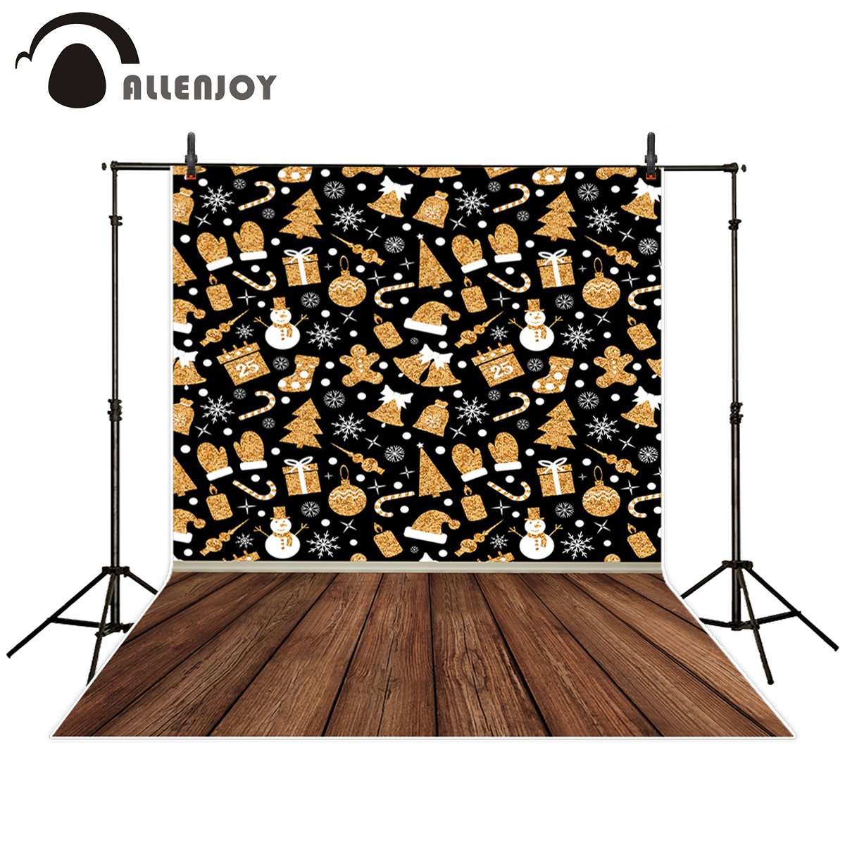 Allenjoy Christmas snowflake photography background snowman tree children party backdrop printed photo studio photographic snowflake snowman christmas tree pattern brooches