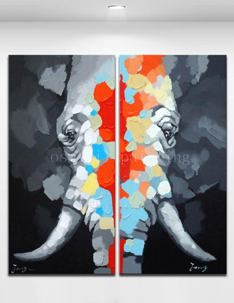 Hand Painted Indian Abstract Colorful Elephant Knife Oil Painting on Canvas Cartoon Animal Wall Art 2 Panles For Home Decoration