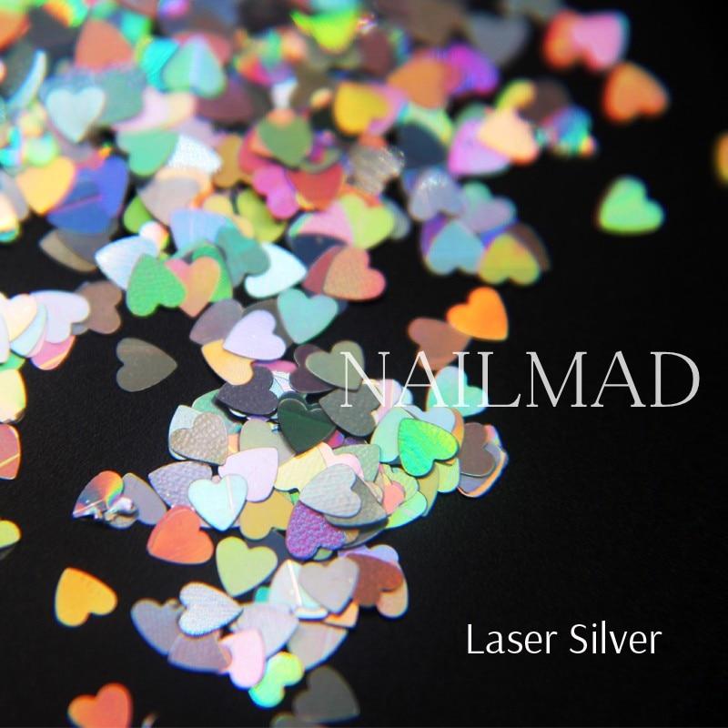 1box NailMAD Лазерлік Nail Sequins Heart Shape Nail Sparkles - Маникюр - фото 2