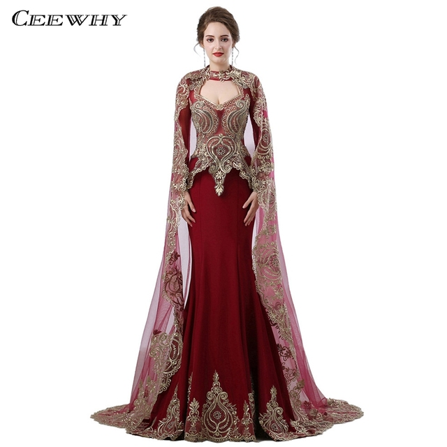 CEEWHY Moroccan Dubai Arabic Dress Elegant Vintage Evening Dress Embroidery  Evening Gown Prom Dresses 2018 Vestidos Largos 120f29c950e4