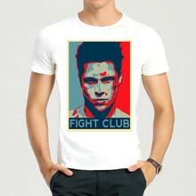 Cotton Short Fight Club T-shirt Mens Fashion Brad Pitt Shirt