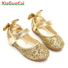 Girls Casual princess Shoes Children Performance Beautiful Glitter Girl  Gold Silver Wedding Party Square Heels Bow 67bd0b673e1a