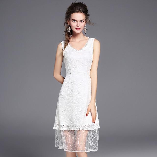 2017 новое лето популярные тенденция v-образным вырезом sexy mesh мода одежда шить полупрозрачное кружево рукавов a-line dress