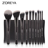 ZOREYA 10PCS Black Classic Makeup Brushes With High Quality Synthetic Hair Foundation Blusher Concealer Eye Shadow