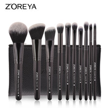 ZOREYA 10PCS Black Classic Makeup Brushes With High Quality Synthetic Hair Foundation Blusher Concealer Eye Shadow Brush Set