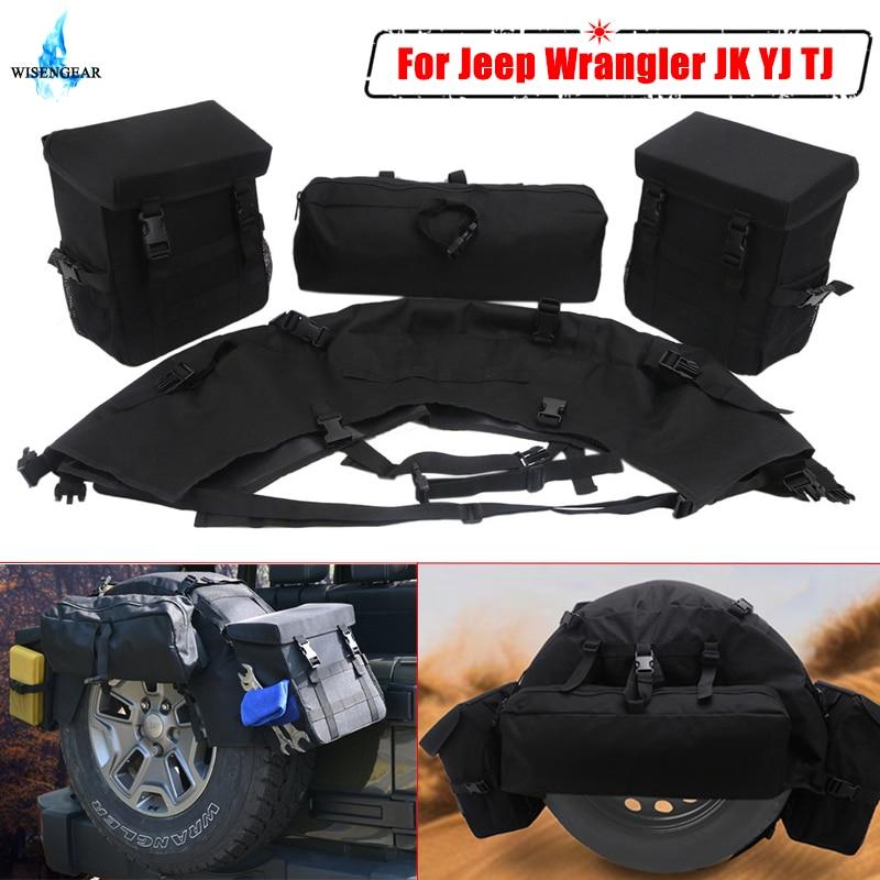 For Jeep Wrangler JK YJ TJ Spare Tire Storage Bag Tool Organizer Cargo Luggage Bag Saddlebag