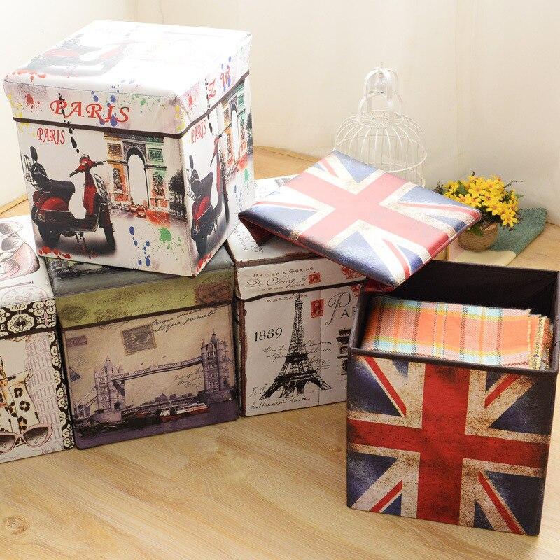 Storagestool drapeau carré tabouret pliant tabouret de rangement multifonctionnel Film britannique boîte de rangement Non-tissé décor à la maison boîte de rangement