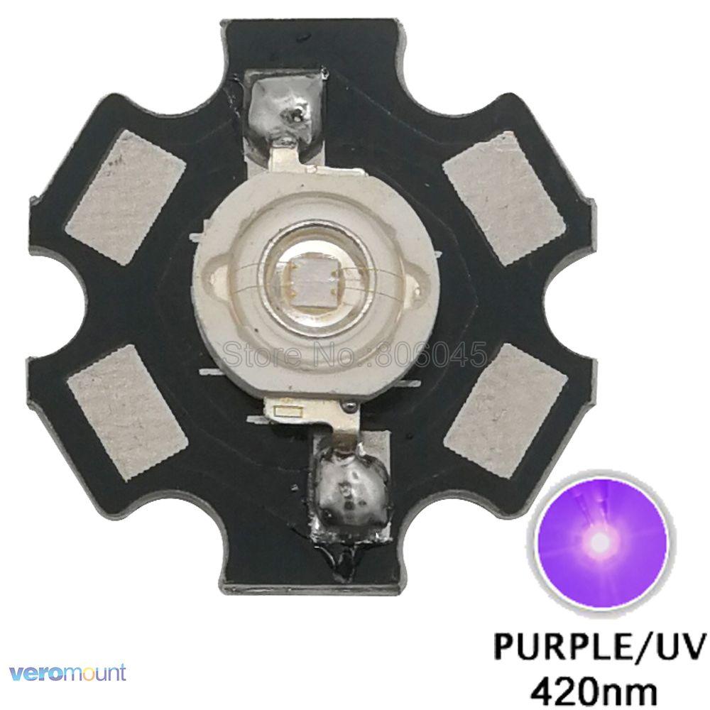10pcs 3W UV 417-420nm LED ultraviolet LED High Power bead with 20mm star base