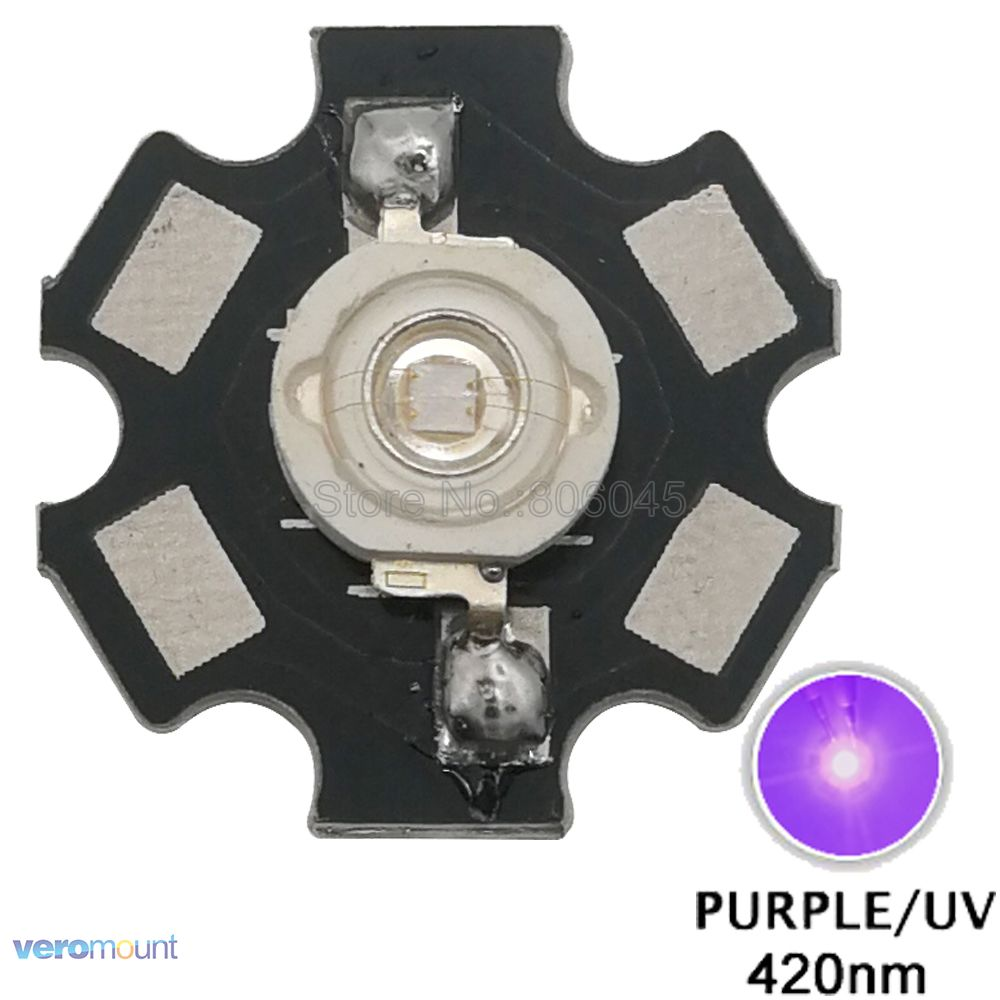 5pcs/lot! 3W UV/Ultra Violet 420nm - <font><b>430nm</b></font> High Power LED Bead Emitter Chip Epileds 45mil with 20mm Aluminum PCB image