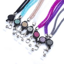 NECK RHINESTONE CRYSTAL LANYARD& RETRACTABLE ID NAME BADGE REEL PHONE KEY HOLDER Pendant Necklace(China)