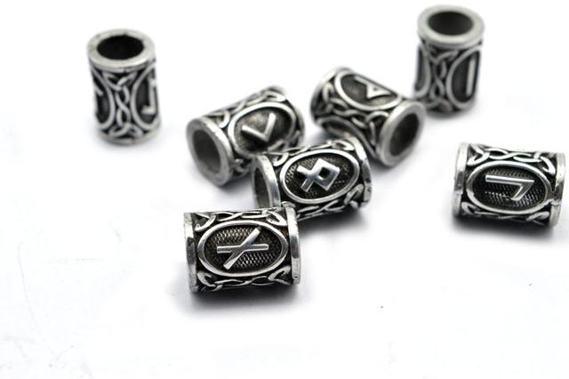 Norse Hollow Viking RUNE BEARD Beard Beads 24pc Jewelry Hair or Bracelet Beard