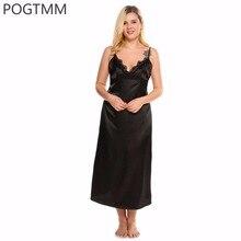 Плюс Размеры 4XL летние пикантные Кружево атласные пижамы платье Для женщин элегантные длинные ночная рубашка Белый дом ночь ночную рубашку Костюмы