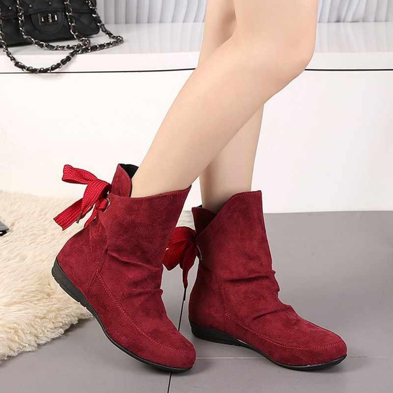 COOTELILI Artı Boyutu yarım çizmeler Kadınlar Için Ayakkabı Dantel-up Bayanlar Ayakkabı Moda lastik çizmeler Kadın Kış Ayakkabı Kırmızı Siyah 41 42 43