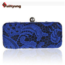 Free Shipping Women Hard Box Day Clutch Embroidered Lace Wedding Handbag Shoulder Bag Lady Evening Bag Purse 8 Colors