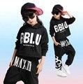 Девочки Мальчики Cool Черный Бальные Джаз Хип-Хоп Танцевальный Конкурс Костюм Набор для Детей Танцы Одежда Толстовка Кофты Топы Брюки