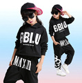 Girls Boys Cool Black Ballroom Jazz Hip Hop Dance Competition Costume Set for Kid Dancing Clothing Hoodie Sweatshirts Tops Pants