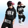 Niñas Niños Fresco Negro Salón de Baile Jazz Hip Hop Dancing Ropa Competencia de Baile Conjunto Traje para Niño Con Capucha Sudaderas Tops Pantalones