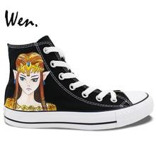 Wen Design Custom Sneakers Hand Painted Game Legend of Zelda Men Women's High Top Canvas Sneakers Birthday Gifts