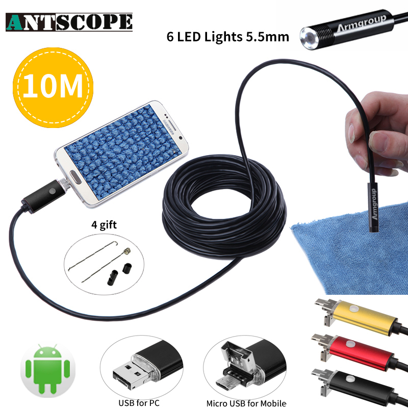 Endoscope 5.5mm Lens MircoUSB Android OTG USB Endoscope Camera10M Inspection Snake Tube Pipe Borescope Phone Camera Endoscopio gakaki 7mm lens usb endoscope borescope android camera 2m waterproof inspection snake tube for android phone borescope camera