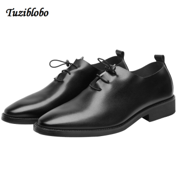 Leather Casual Shoes Men Lace-Up High Quality Leather Casual Shoes Autumn Winter Leather Shoes For Men Flat Shoes Size 5.5-10